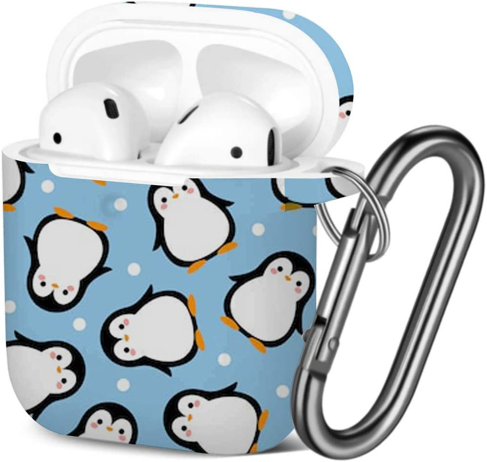 Compatible with AirPods 2 and 1 Shockproof Soft TPU Gel Case Cover with Keychain Carabiner for Apple AirPods Cute Penguin Cartoon