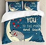 Ambesonne I Love You Duvet Cover Set Queen Size, Sleepy Cat Holding Hearts over the Moon at Night Sky, Decorative 3 Piece Bedding Set with 2 Pillow Shams, Slate Blue Warm Taupe Pale Yellow