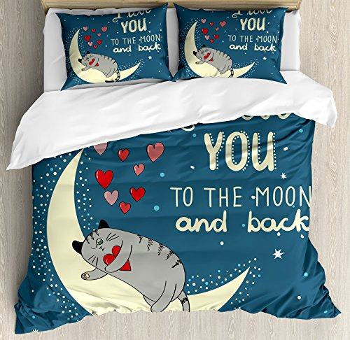 Ambesonne I Love You Duvet Cover Set Queen Size, Sleepy Cat Holding Hearts Over The Moon at Night Sky, Decorative 3 Piece Bedding Set with 2 Pillow Shams, Slate Blue -