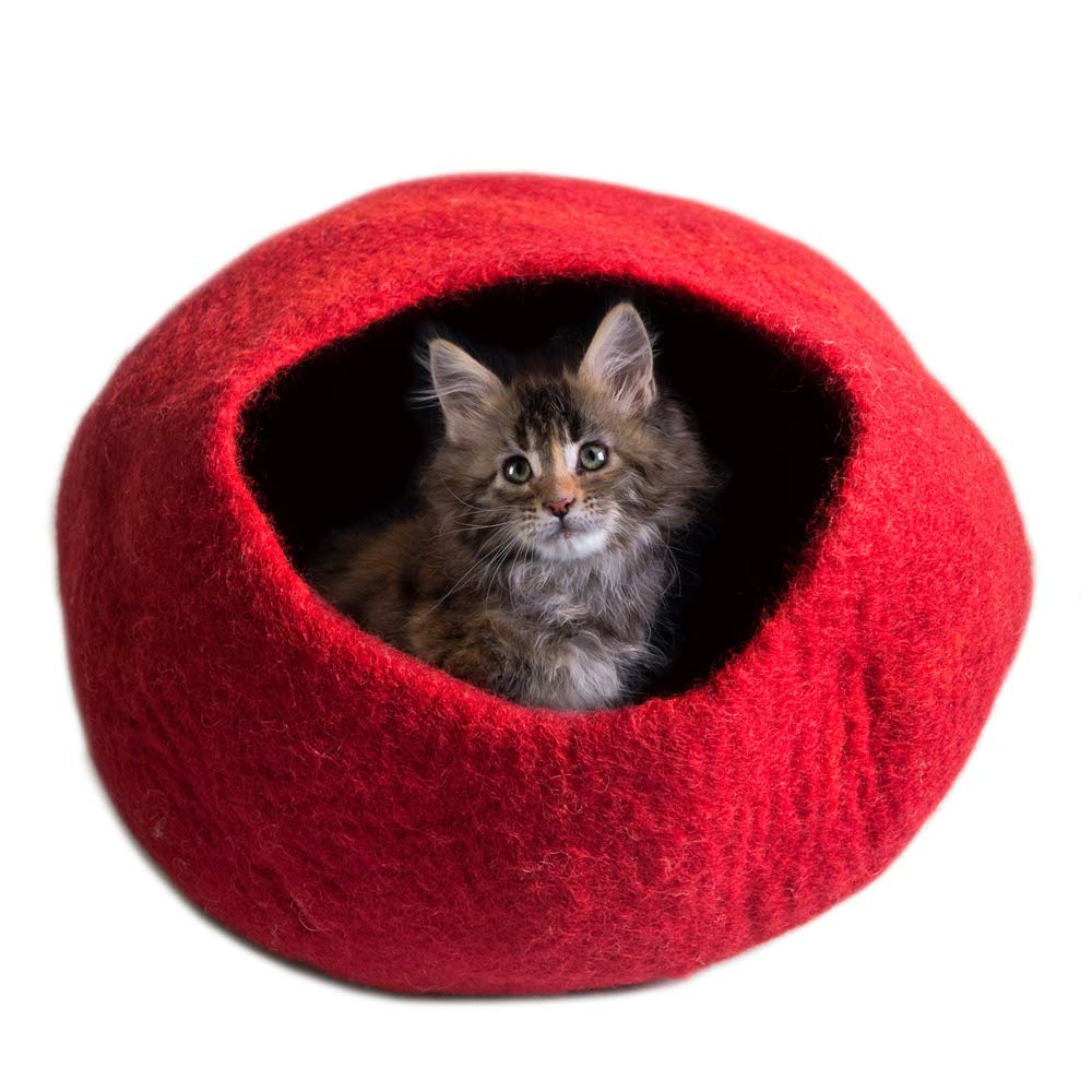 Homely Cat Basket Snuggly /& Enclosed Sleeping Place for Your Loving Pets Warm Handmade in Nepal Eco-friendly Covered Cat Beds Cat Cave Bed Light Grey Large Igloo Bed for Cats /& Kittens