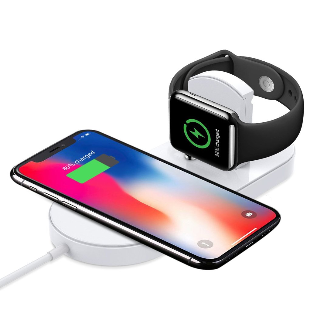 TEEMADE Wireless Charger for iPhone X/8/8 Plus,Apple Watch Series 1/2/3,7.5W/10W Charger Stand for iPhone/Samsung S9/8/8,9 Plus, Note 8,2W Charger Stand for Watch and 5W for All Qi Enable Models