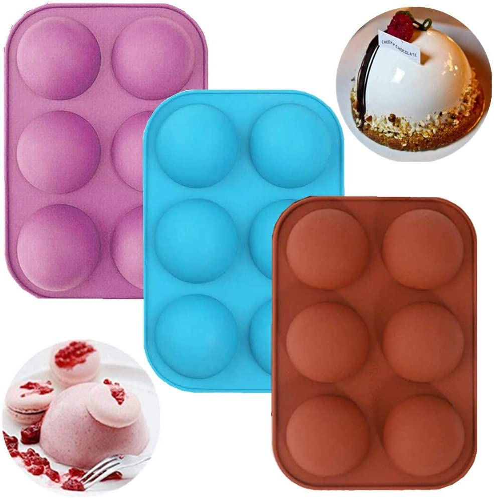 6 Holes Silicone Mold For Chocolate,Half Sphere Silicone Molds For Baking, BPA Free Cupcake Baking ,Silicone Molds for Making Chocolate, Cake, Jelly, Dome Mousse (3Pcs MIX)