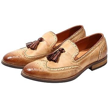 LEFT&RIGHT Mocasines Vintage para Hombre Pulido Skinhead Pulido Todos Los Zapatos De Cuero Zapatos De Vestir