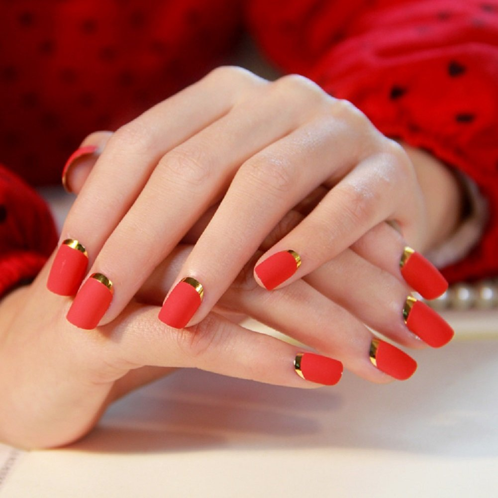 Amazon.com : Fake Nails False Nail Design Pretty Nail Designs Red ...