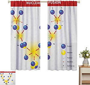 """2020 Gardome Bedroom Curtains Educational,Nuclear Fusion Proton Neutron Chain Hydrogen Cosmic Energy Molecule Atom,Blue Red Yellow,Insulating Room Darkening Blackout Drapes 52"""" W x 63"""" L"""