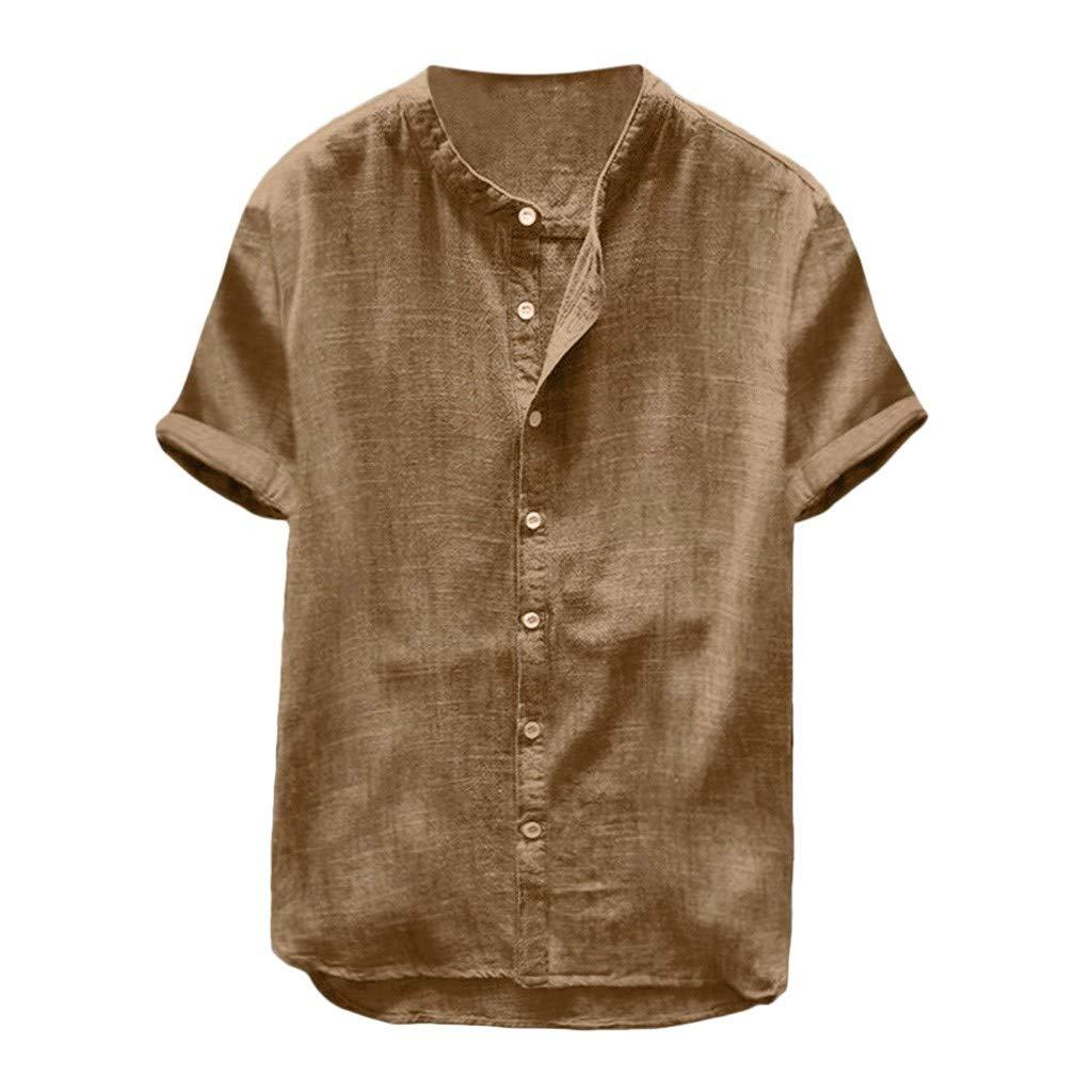 Mens Short Sleeve Henley Shirt Cotton Linen Beach Casual Loose Fit Henleys Tops Blouse Retro Solid Color Tee Khaki by NIKAIRALEY T-Shirt