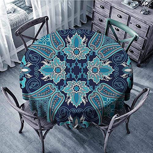 ScottDecor Polyester Round Tablecloth Navy Blue,Floral Paisley Design Bohemian Style Vintage Flower Petal Pattern,Blue Navy Blue and White Jacquard Tablecloth Diameter 70