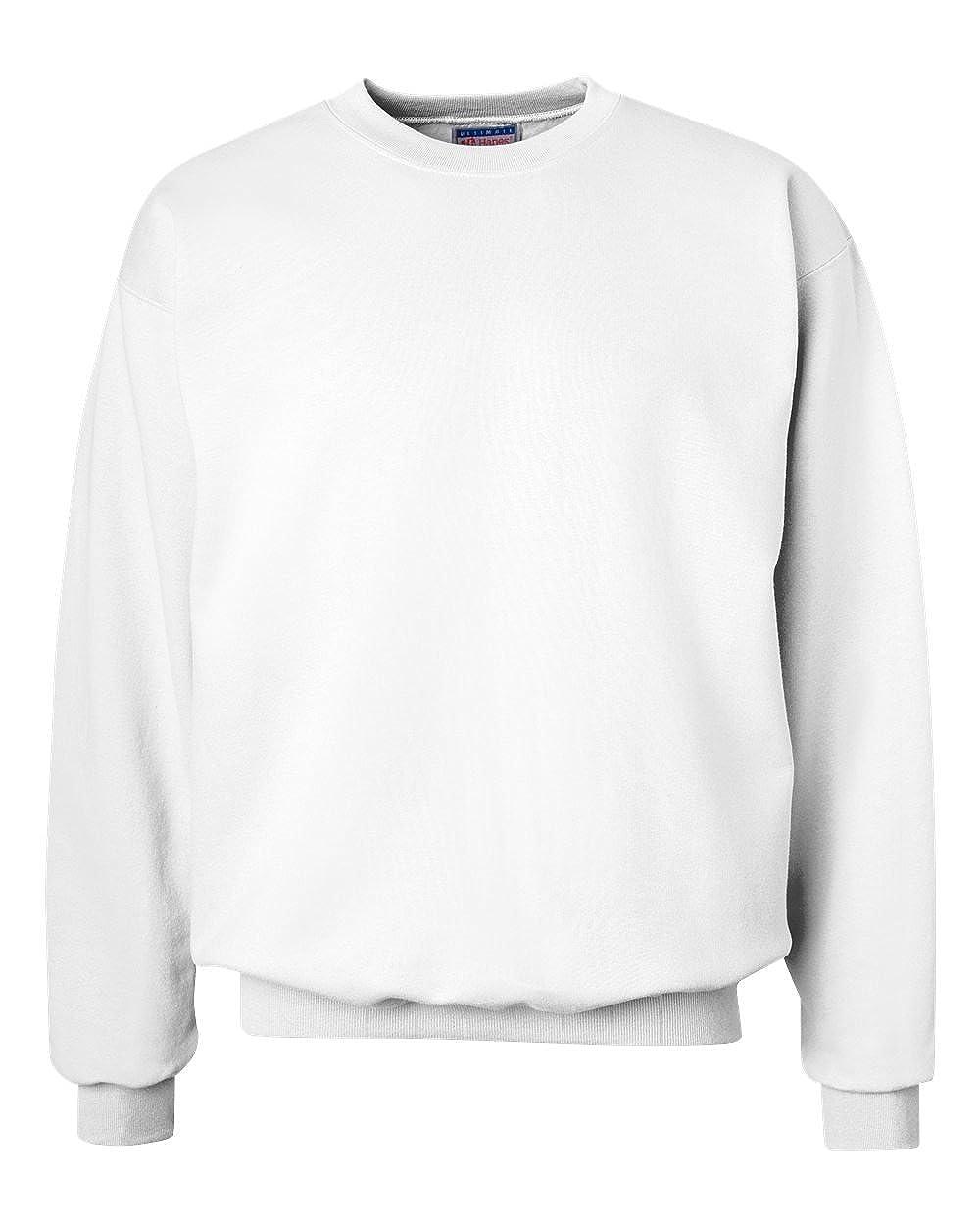 Hanes 90//10 Cotton//Polyester 10.2oz Ultimate Cotton Crewneck S-White