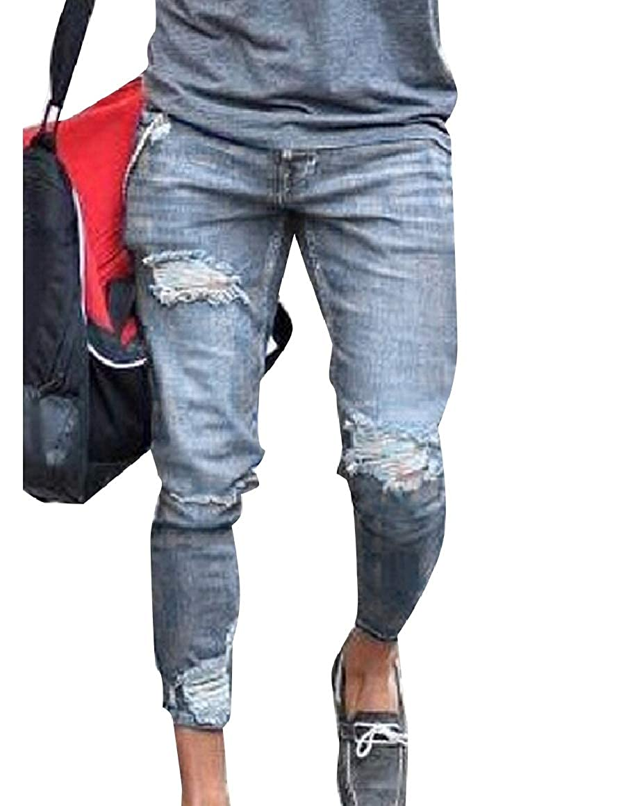 Abetteric Mens Washed Classic Oversize Ripped-Holes Jeans Denim Shorts