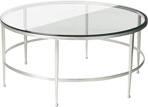 Amazon Com Safavieh Couture Home Edmund Antique Silver And Glass Round Cocktail Table Furniture Decor