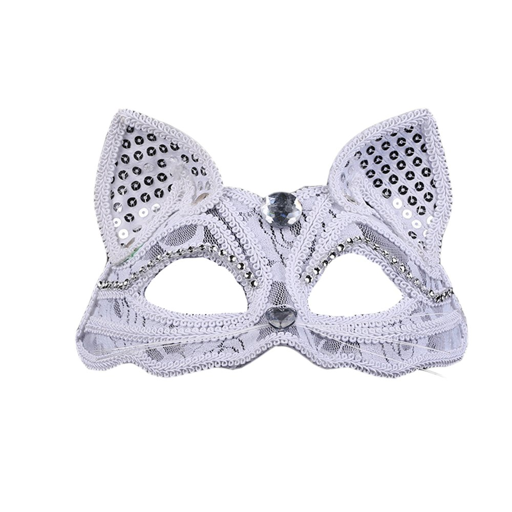 Himine 2 Pieces Masquerade Party Performances Lace Cat Girl Mask