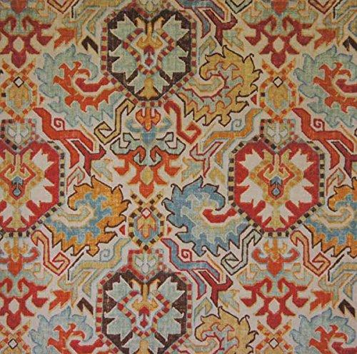 Richloom Fabrics Madrid Kilim Rug Print Persian Red Brown Blue
