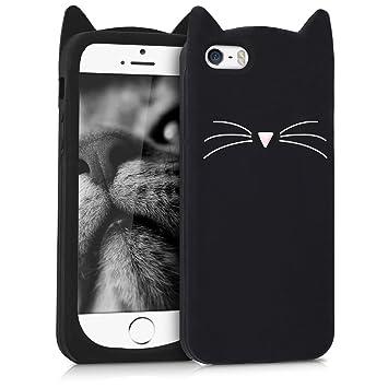 kwmobile Funda para Apple iPhone SE / 5 / 5S - Carcasa Protectora de [Silicona] y diseño con Gato - Cover [Trasero] de móvil