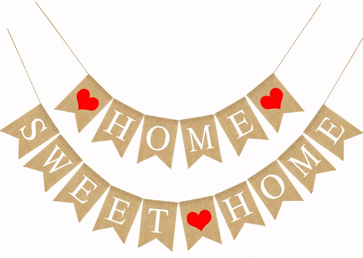 Home Sweet Home Burlap Banner Home Housewarming Party Fireplace Garland Decoration 5.1X7.1inch(Sweet Home Banner)