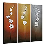 Wieco Art Extra Large Modern Contemporary Flowers Artwork 3 Panels Decorative 100% Hand Painted Gallery Wrapped Abstract Floral Oil Paintings on Canvas Wall Art Ready to Hang for Home Decor