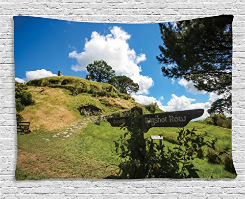 Hobbits Tapestry Wall Hanging by Ambesonne, Overhill Hobbit Village in Matamata New Zealand Hobbitland Fantasy Scene House Image, Bedroom Living Room Dorm Decor, 80 W X 60 L Inches, Green Blue