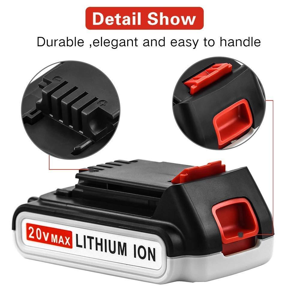 LBXR20 2.0Ah Replace for Black and Decker 20V Battery Max Lithium-ion LB20 LBX20 LST220 LBXR2020-OPE LBXR20B-2 LB2X4020 Cordless Tool Battery