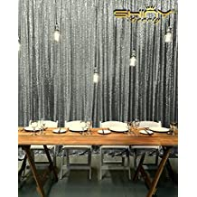 ShinyBeauty Sequin Curtain-Backdrop-10FTX10FT-Gunmetal Shimmer Sequin Fabric Background, Photography Curtains for Wedding