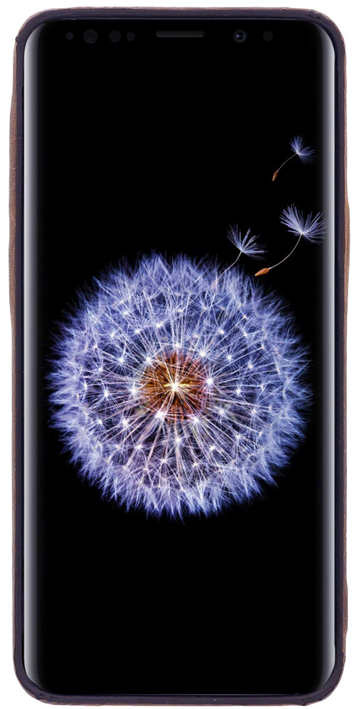 QI f/ähig bruchfeste Handyh/ülle f/ür das Galaxy S9 Burkley Lederh/ülle geeignet f/ür Samsung Galaxy S9 Schutzh/ülle Bumper Antik Braun Handmade