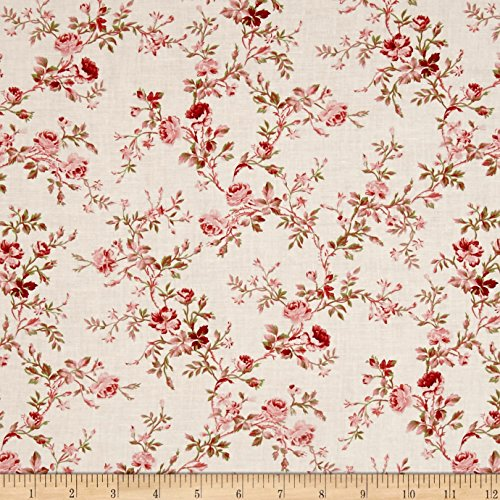 Carte Postale Floral Bouquet Light Pink Fabric By The Yard (Studio Skipping Stones)