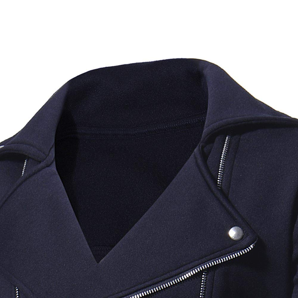 iYYVV Mens Autumn Winter Casual Long Sleeve Solid Zipper Turn-Down Collar Jacket Tops
