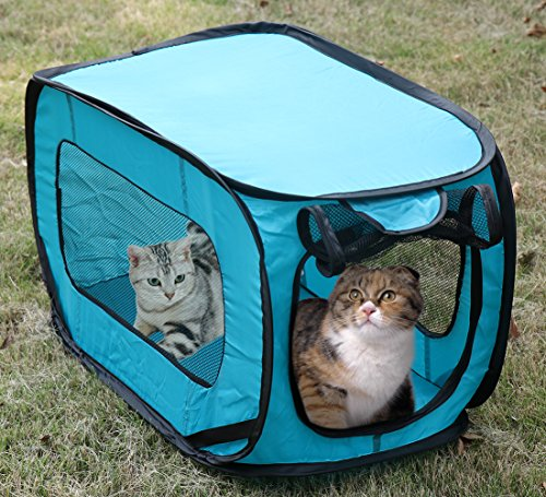 Portable Cat Cage,Pop Open Collapsible Travel Crate