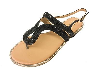 3821560cfb9da Bella Luna Amber-04 Black 6.5 Women Rhinestone Bejeweled Flat Sandal ~  T-Strap