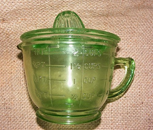 Measuring Cup With Juicer Lid - Citrus Lemon Lime Reamer - Green Depression Glass Style - Farmhouse home kithcen decor (2 Green Depression Glass)