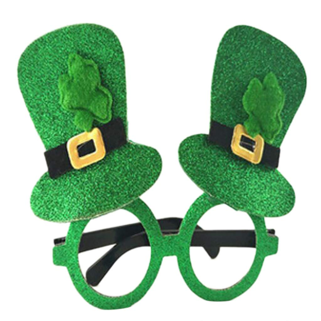 KCPer Irish Adult Festival Green Funny Shamrock Hat Glasses For St Patricks Day