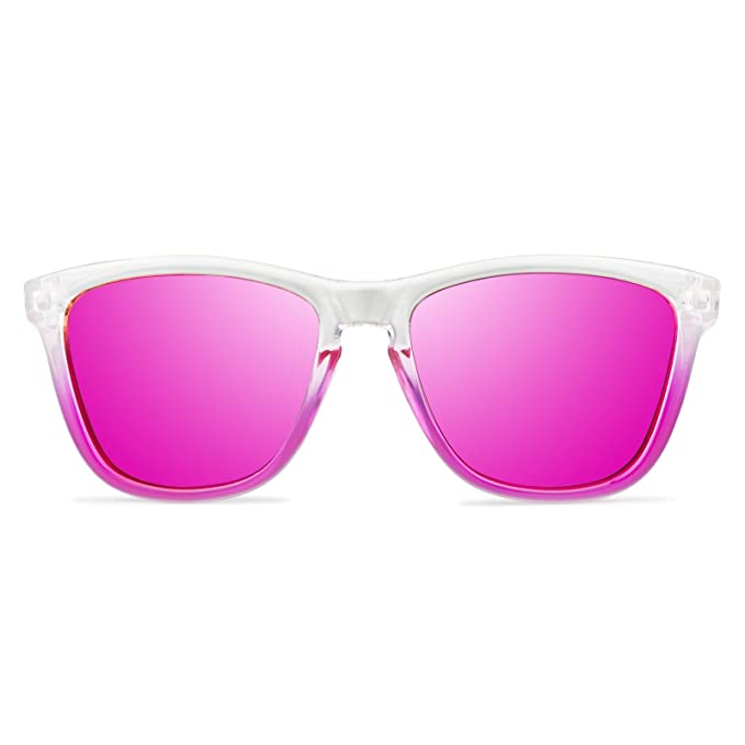 Gafas de Sol Mujer Unisex Polarizadas UV400 Vooglers California Beach Cristales Lentes Rosas Espejo Bicolor Rosa Marco Transparente Brillo Ligeras ...