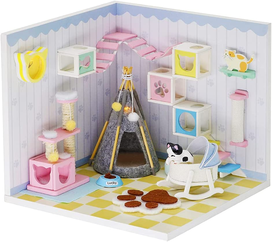 Dollhouse Miniature with Furniture,DIY 3D Wooden Doll House Kit A corner of a Small Apartment Style Plus with Dust Cover and LED,1:24 Scale Creative Room Idea Best Gift for Children Friend Lover S2009