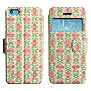 Be-Star Diseño Impreso Colorido Slim Casa Carcasa Funda Case PU Cuero - Stand Function para Apple iPhone 5c ( Simple Flowers )
