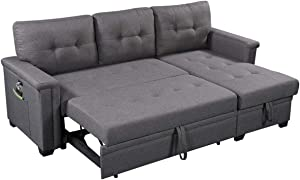 Lilola Home Ashlyn Dark Gray Reversible Sleeper Sectional Sofa with Storage Chaise, USB Charging Ports and Pocket