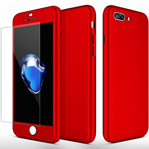 half off cbfed a419d iPhone 7 Plus Case,iPhone 8 Plus Case SEEKFULL 360 Full Body Protection  Ultra-thin Hard Slim Case with [Tempered Glass Screen Protector]case for  Apple ...