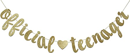 Gold Glitter Official Teenager Hanging Banner Happy Birthday Party Garland Party