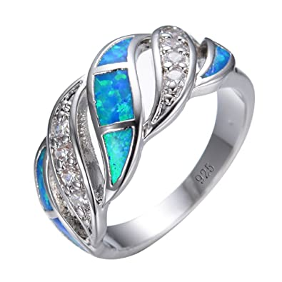 Amazoncom Junxin 925 Sterling Silver Wave Hollow Ring Women and