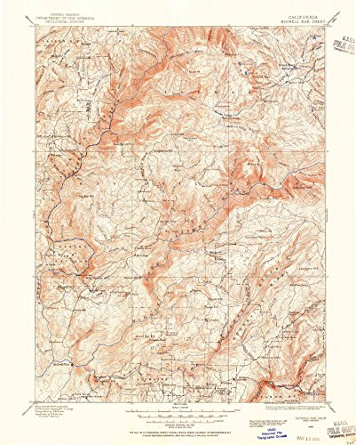 California Maps | 1888 Bidwell Bar, CA USGS Historical Topographic Map | Cartography Wall Art | 18in x 24in