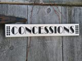 Concessions Sign white with black Shabby Painted Wood Sign Movie Room Home Theatre Sign