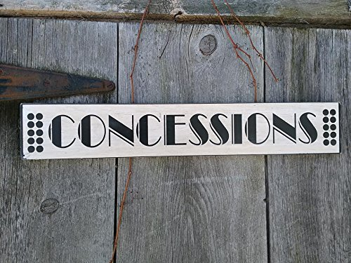 Concessions Sign white with black Shabby Painted Wood Sign Movie Room Home Theatre Sign by Artist Pines Hand Crafts & Home Decor