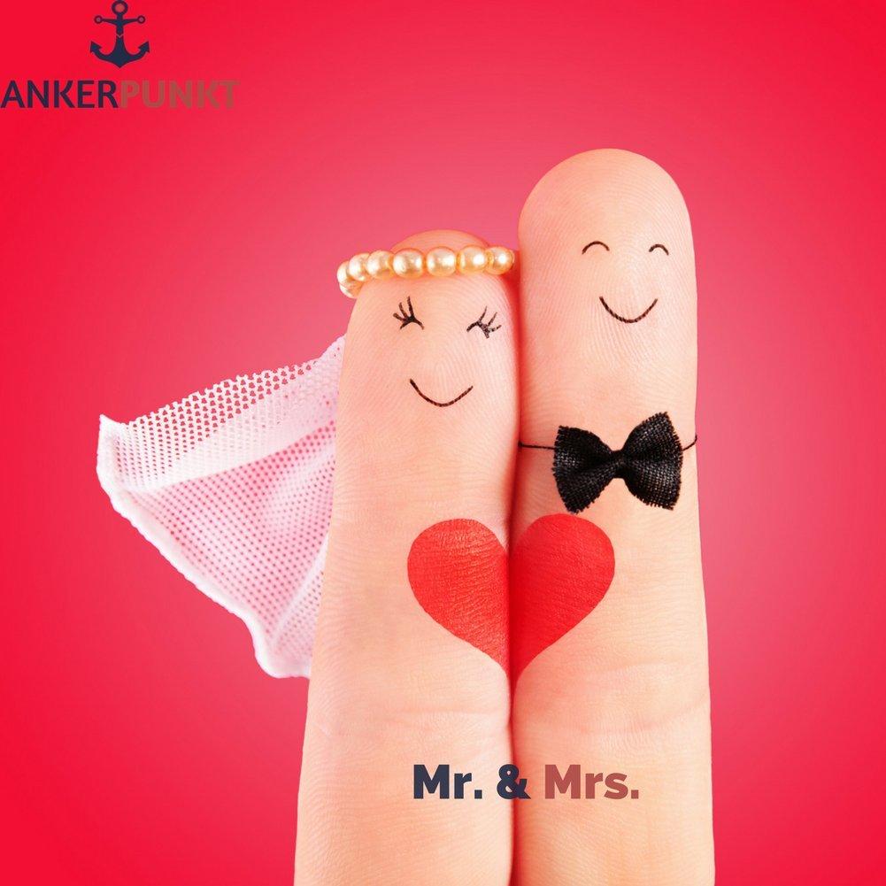 /& Mrs A Offrir pour Un Anniversaire de Mariage Fabriqu/é en Allemagne ANKERPUNKT Duo de Porte-cl/és en Cuir Couple Brun fonc/é pour Amoureux Mr