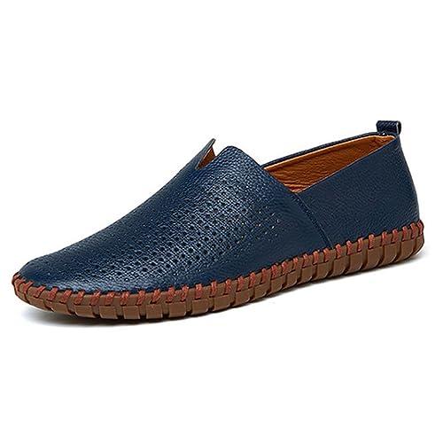 Mocasines para Hombres Mocasines de Cuero Barco y conducción Slip On Zapatos Planos Casual de Boda Oficina y Carrera al Aire Libre (Tamaño: 38-50): ...
