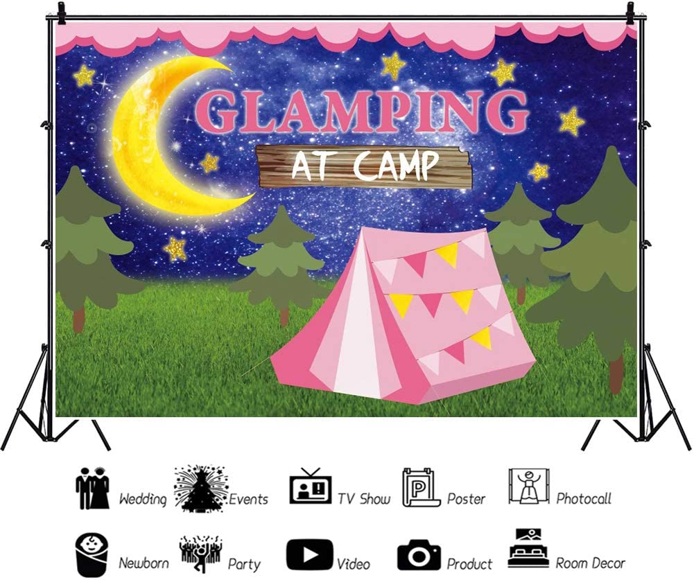 YEELE 10x6.5ft Moon and Star Backdrop Glamping Night Outdoor Camping Photography Backdrops Kids Birthday Banner Newborn Infant Baby Toddler Photos Prek School Events Photobooth Props Digital Wallpaper