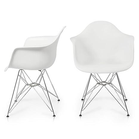Amazon.com: belleze Eames Style Sillón – Acero Base Eiffel ...
