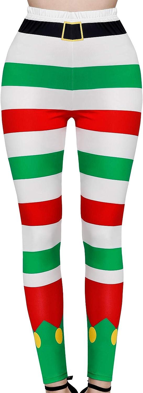 Red White Green Stripe SATINIOR Women Christmas Leggings Footless Ugly Santa Claus Striped Tights Xmas Print Costume