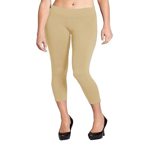 29e5016c788 EKimo NM Women Seamless Basic Stretch Capri Sports Yoga Leggings Plus Size  L XL 2XL (