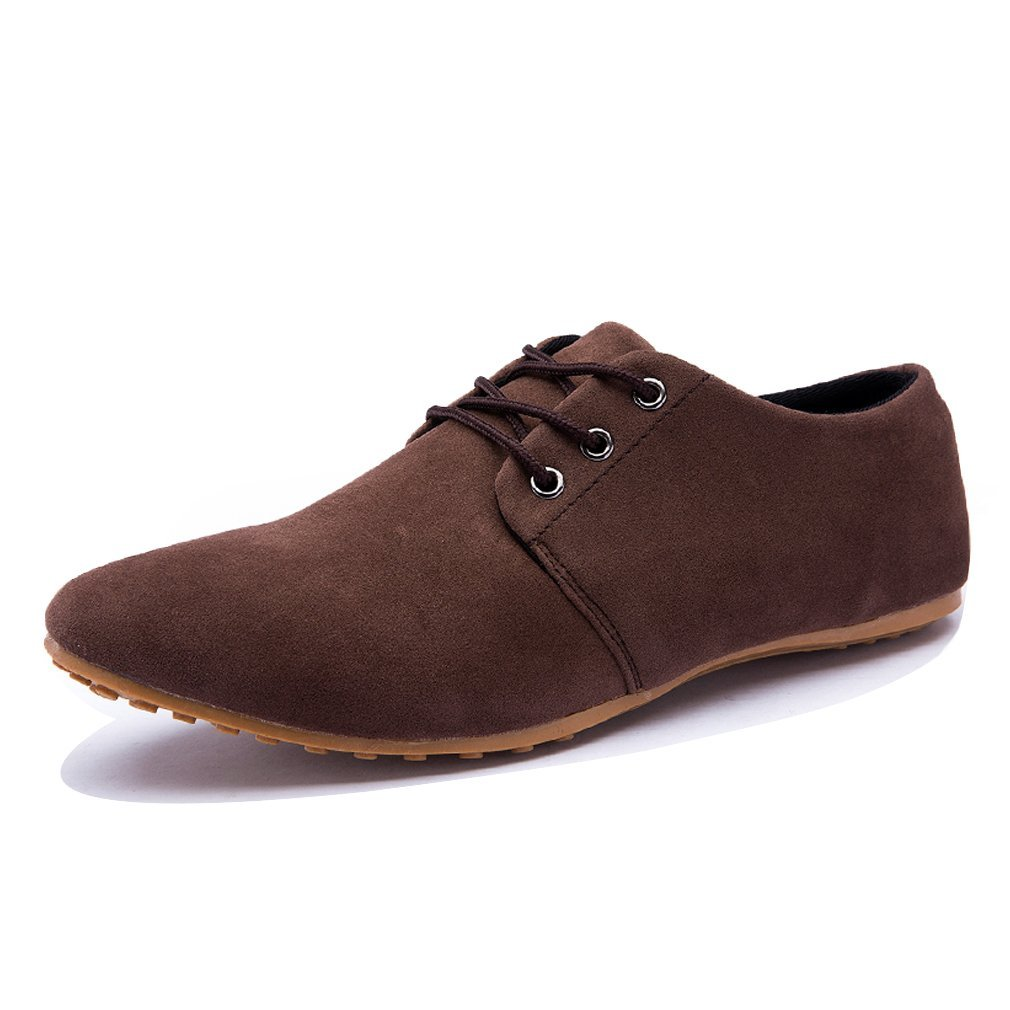 DEARWEN Men's Casual Suede Leather Lace up Oxford Shoes Brown US 9.5