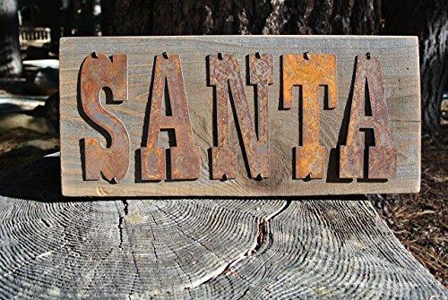 Santa   Reclaimed Wood Rustic Metal Sign