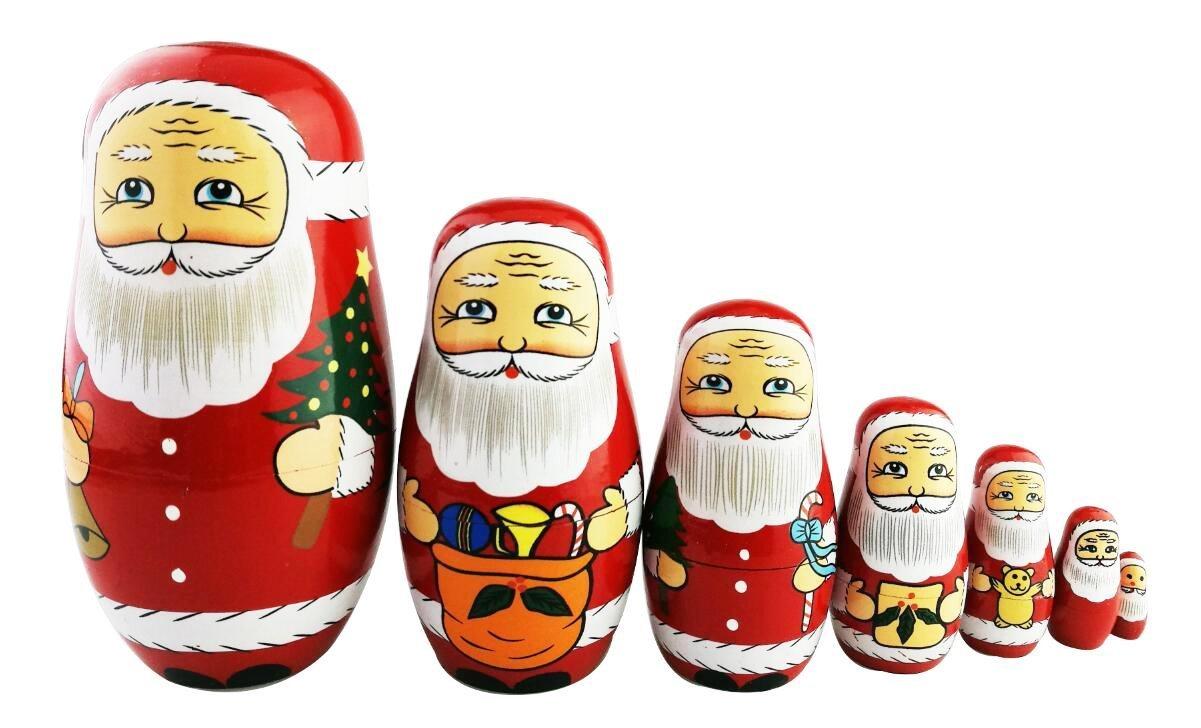 Winterworm Set di 7 Matrioske di Natale Babbo Natale Matrioske Regalo di Natale per Bambini
