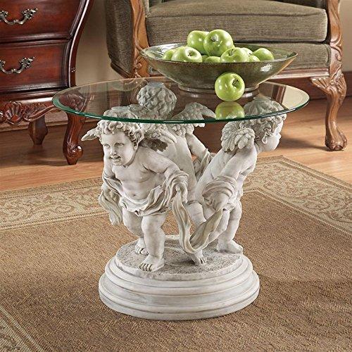 Round Bonded Glass Top Table - Design Toscano Bernini's Cherubs Coffee Table