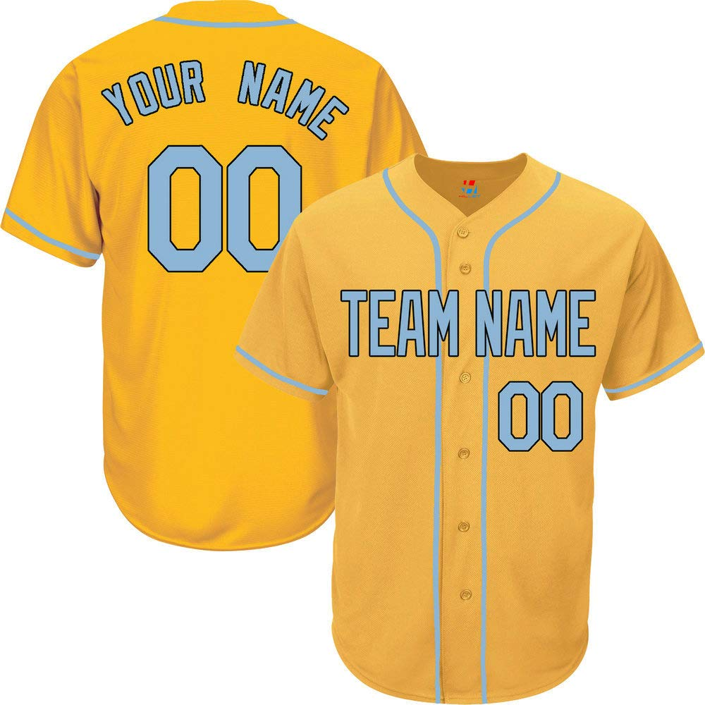 Yellow Customized Baseball Jersey for Men Button Down Embroidered Team Player Name & Numbers,Light Blue-Black Size S